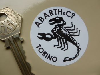 "Abarth & Co Torino Black & White Circular Stickers. 2"" Pair."