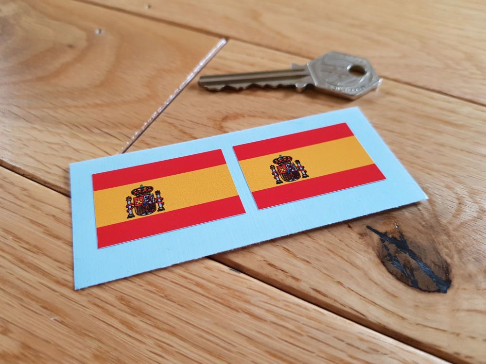 Spanish Flag Oblong Stickers. 37mm Pair.