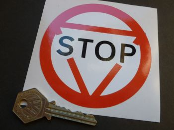 Stop Road Sign Style Sticker. 95mm.