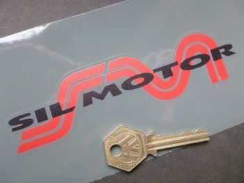 "Sil Motor Red, Black, & Clear Shaped Sticker. 6""."