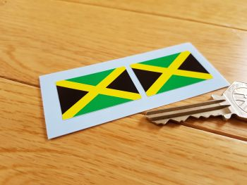 Jamaican Oblong Flag Stickers. 37mm Pair.