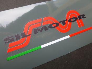 "Sil Motor Black Text & Italian Flag Sticker. 5"" or 6""."