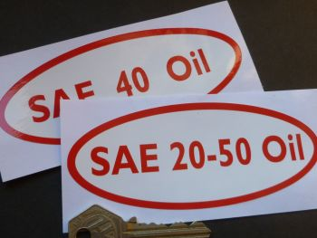"SAE 20-50/40/90 Oil Can Stickers. 5""."