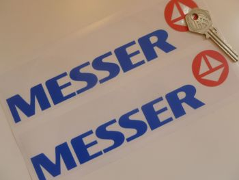 "Messer Sponsors Blue, Red, & Clear Stickers. 8"" Pair."