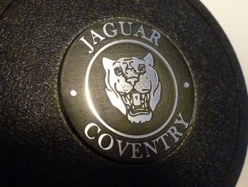 Jaguar Coventry Growler old style  Silver or Black Round Self-Adhesive Mountney Mota Lita etc Steering wheel Badge. 39mm.