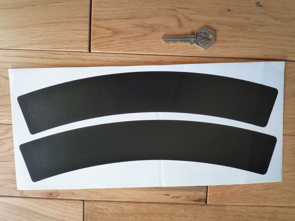 Curved Black Stick on Scooter or Motorcycle Number Plate Backgrounds. Thin Style. 315mm x 50mm Pair.