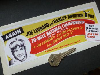 "Joe Leonard, Bay Meadows, California, 20 Mile National Championship Sticker. 8.5""."