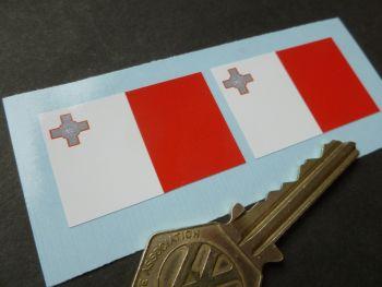 Maltese Flag Oblong Stickers. 37mm Pair.