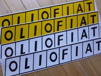 Olio Fiat Long Oblong Close Cut Stickers. 700mm Pair.