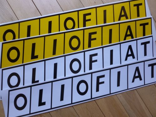 Olio Fiat Long Oblong Close Cut Stickers 700mm Pair