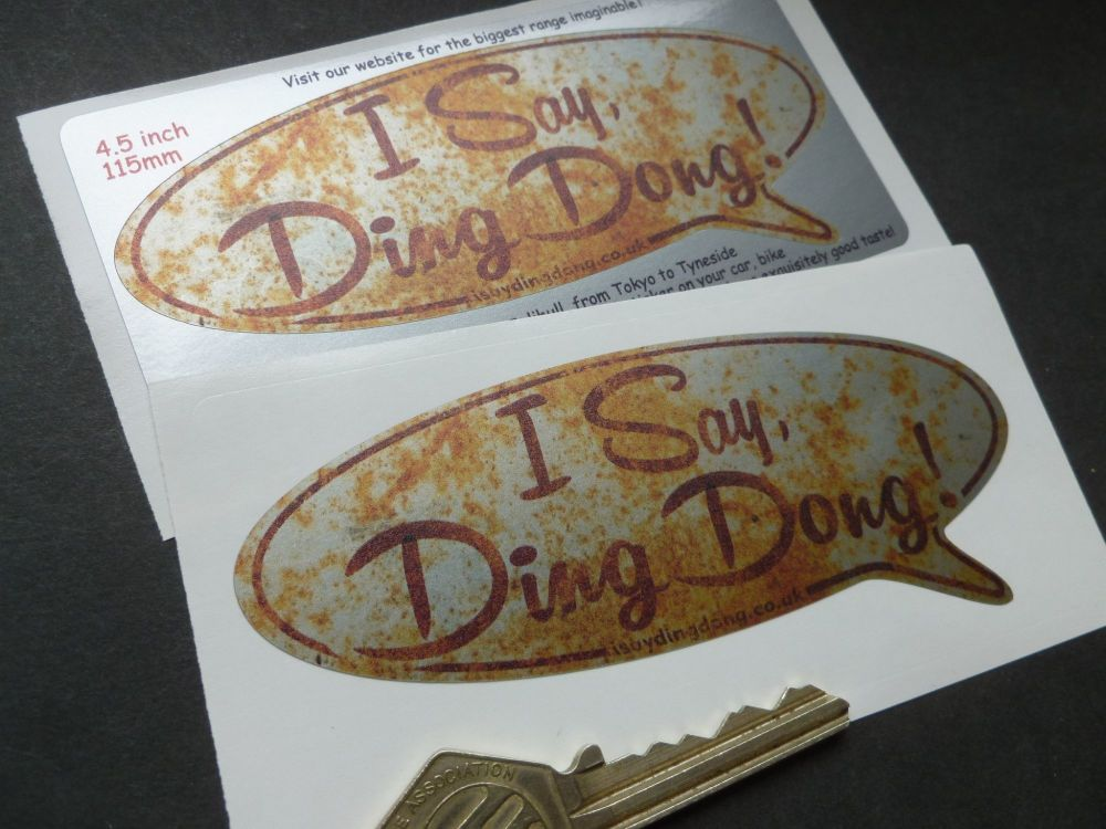 """I Say Ding Dong Rusty Style Speech Bubble Stickers. 4.5"""" Pair."""