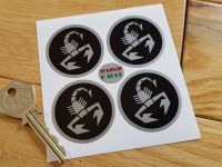 Abarth & Co Silver Scorpion Wheel Centre Stickers. Set of 4. Various Sizes.