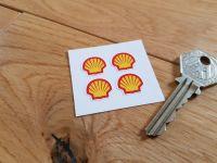 Shell Modern Logo Shaped Stickers. Set of 4. 15mm.