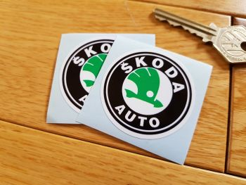"Skoda Auto Black, Green & White Circular Logo Stickers. 2"" Pair."
