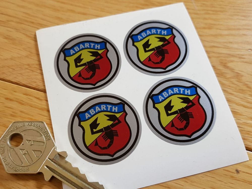 Abarth & Co Shield Wheel Centre Stickers. Set of 4. 50mm or 60mm.