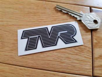 "TVR Black & Silver Lined Text Logo. 2.75""."