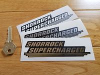 "Shorrock Supercharged Shaped Stickers. 4.75"" Pair."