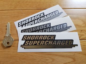 """Shorrock Supercharged Shaped Stickers. 4.75"""" Pair."""