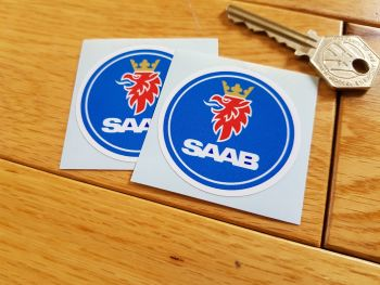 "Saab Circular Logo Stickers. 2"" Pair."