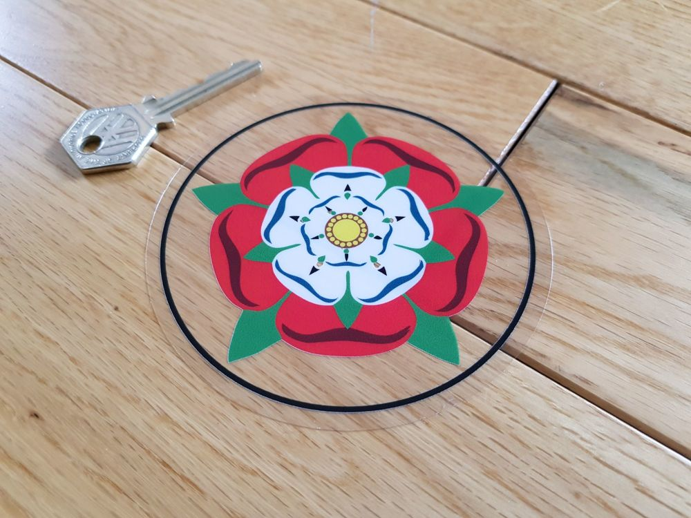 "Tudor Union Rose Circular Window Sticker. 4""."