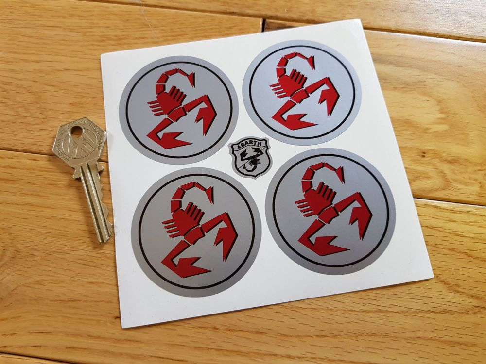 Abarth & Co Scorpion Red on Silver Wheel Centre Stickers. Set of 4. 50mm or