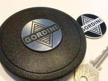 Gordini Style Self-Adhesive Mountney Mota-Lita etc Steering Wheel Badge. Black & Silver/White. 39mm.