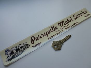 "Perryville Mobil Service US Route 40 Maryland Gas Station Window Sticker. 12""."