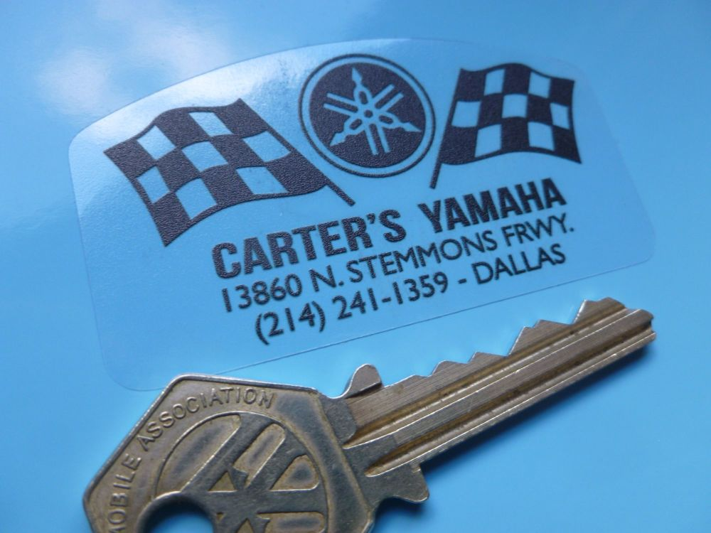 "Carter's Yamaha Motorcycle Dealer Sticker. 2.5""."