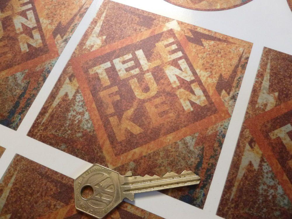 """Telefunken Diamond Rusty Effect Sticker. 5.5""""."""