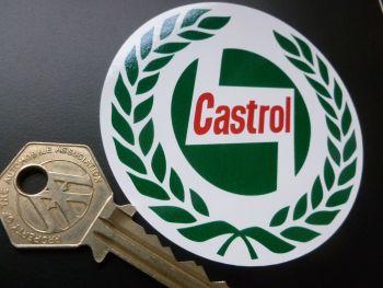 Castrol '58 Onwards Garland Circular Sticker. 80mm.