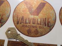 "Valvoline Rust Effect Circular Sticker. 4"" or 6""."