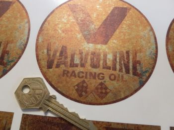 "Valvoline Rust Effect Circular Sticker. 4"" or 6""."