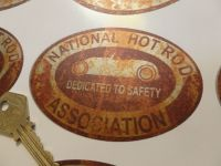 "NHRA Rusty Style Dedicated to Safety Oval Sticker. 4""."