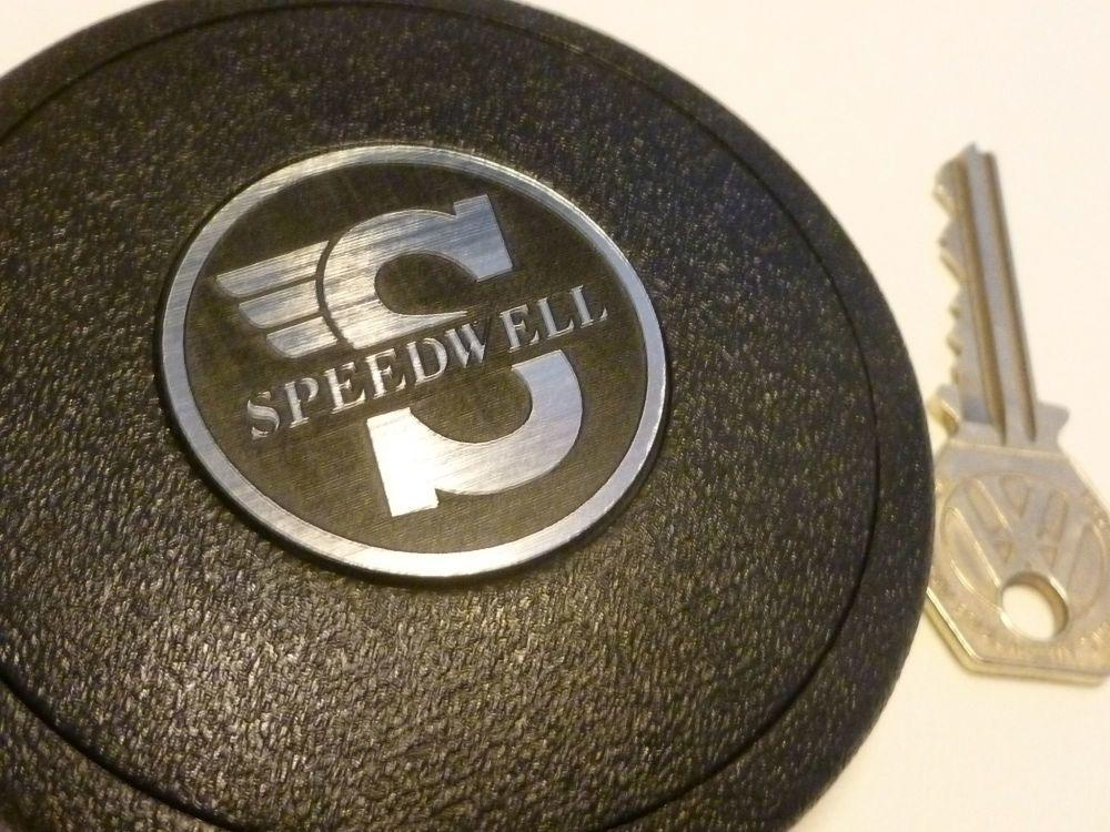 Speedwell Style Self-Adhesive Mountney Mota-Lita etc Steering Wheel Badge. Black & Silver. 39mm.