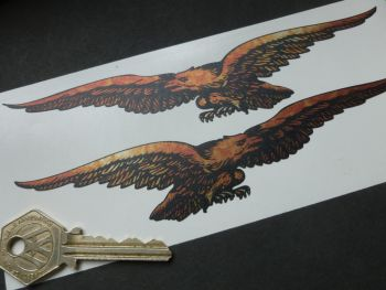 """Moto Guzzi Cut Out Soaring Eagle Rust Effect Stickers. 6.5"""" Handed Pair."""