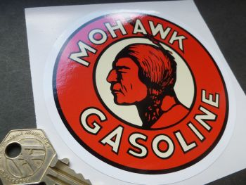 Mohawk Gasoline White Border Stickers. 110mm Pair.
