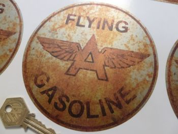 "Flying A Gasoline Rusty Style Circular Sticker. 5""."