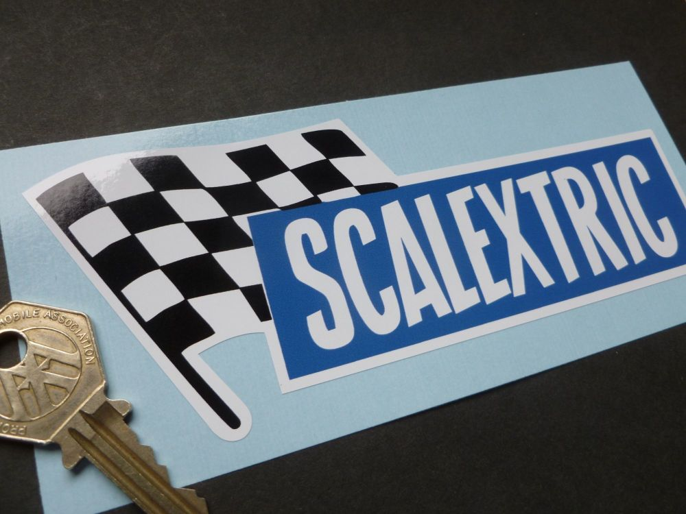 """Scalextric 60's Style Oblong Sticker. 6""""."""