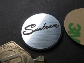 Sunbeam Script Self Adhesive Circular Car Badge. 25mm.