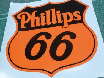 "Phillips 66 Black & Orange Shield Shaped Sticker. 4"" or 8""."