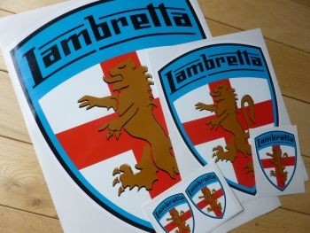 "Lambretta Coloured  Blue Surround Shield Sticker. 4"" or 10""."