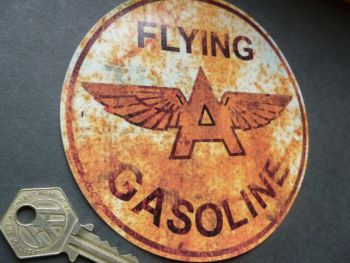"Flying A Gasoline Rusty Style Circular WINDOW Sticker. 5""."