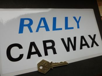 "Rally Car Wax Sticker. 9""."