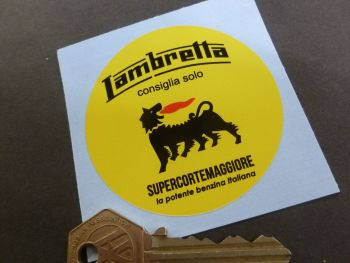 Lambretta Recommend Only Supercortemaggiore Oil & Petrol Vintage Style Sticker. 66mm.