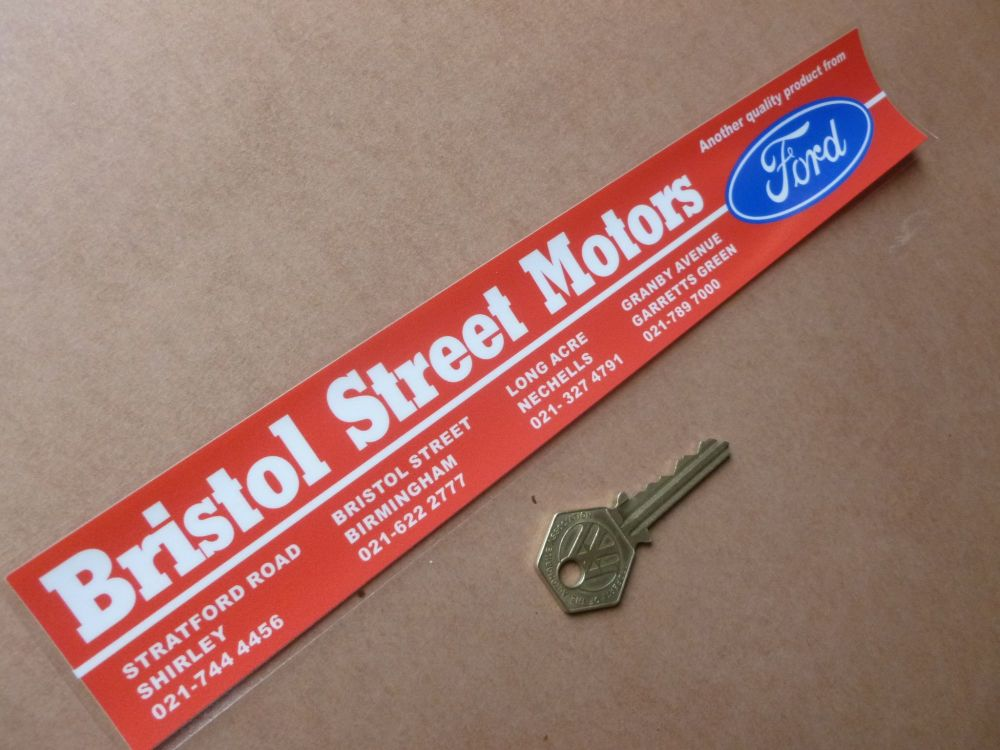 "Bristol Street Motors Red 4 Birmingham Branches Dealer Sticker. 11""."