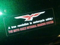 Moto Guzzi Integral Braking System Sticker. Red, White, & Clear. 2.5