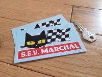 "SEV Marchal Cat & Script Red with White S.E.V. Stickers. 2"" or 4"" Pair."