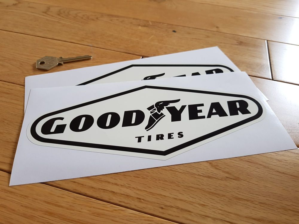 "Goodyear Tires Black on Off-White Diamond Stickers. 9"" Pair."