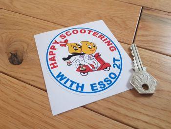 "Esso 2T Happy Scootering Sticker. 3.5""."