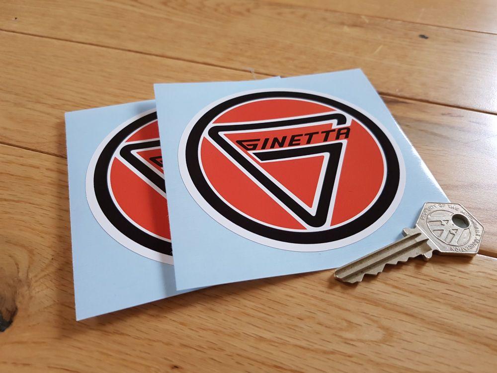 "Ginetta Round Stickers. 2"" or 4"" Pair."
